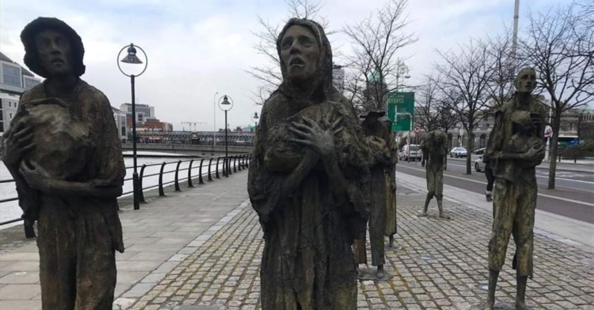 Great Famine memorial in Custom House Quay in the Dublin Docklands, Ireland, Feb. 15, 2020. (AA Photo)