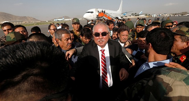 Afghan Vice President Abdul Rashid Dostum arrives at the Hamid Karzai International Airport in Kabul, Afghanistan, July 22, 2018. Reuters Photo