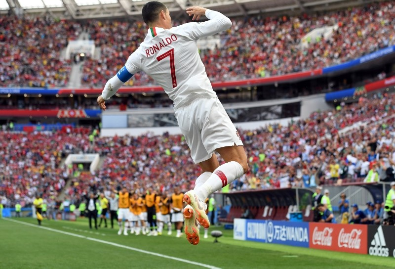 Cristiano Ronaldo of Portugal celebrates scoring the opening goal during the FIFA World Cup 2018 group B preliminary round soccer match between Portugal and Morocco in Moscow, Russia, June 20, 2018. (EPA Photo)