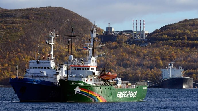 Greenpeace ship ,Arctic Sunrise, is seen anchored outside the Arctic port city of Murmansk, Russia, September 24, 2013. (Reuters Photo)