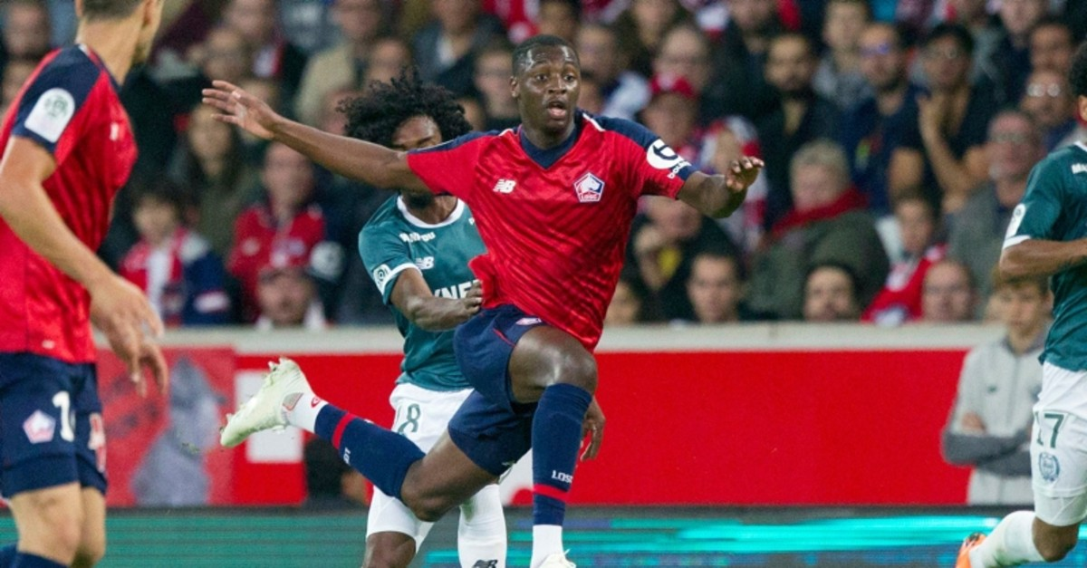 In this Saturday, Sept. 22, 2018 file photo, Lille's Nicolas Pepe, center, in action during the French League One soccer match against Nantes at the Lille Metropole stadium, in Villeneuve d'Ascq, northern France. (AP Photo)