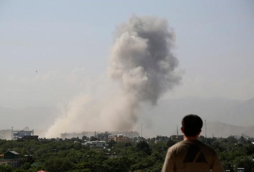 Smokes rises after a huge explosion in Kabul. (AP)