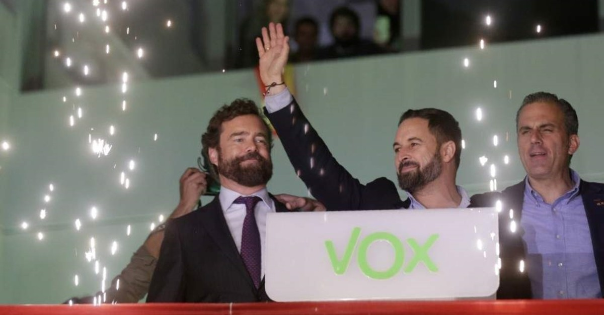 Santiago Abascal, leader of far-right Vox Party, waves to supporters, Madrid, Nov. 10, 2019. (AP Photo)