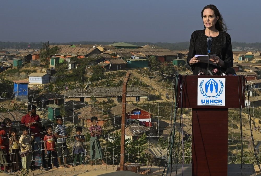 U.S. actress and a special envoy for the United Nations High Commissioner for Refugees (UNHCR), Angelina Jolie addresses a press conference, Ukhia, Feb. 5, 2019.
