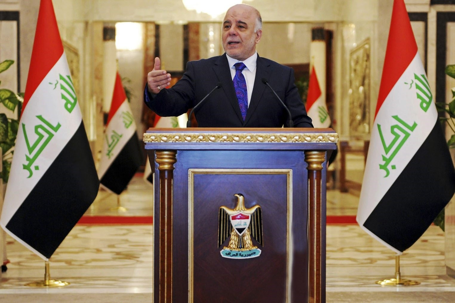 Haider al-Abadi speaks at his first press conference since accepting the nomination to be Iraqu00eds next prime minister, in Baghdad, Iraq, Monday, Aug. 25, 2014. (AP Photo)