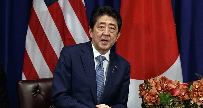 Japanese Prime Minister Shinzo Abe speaks during a meeting with Trump at the Palace Hotel during the UNGA, Sept. 21, 2017, in New York. (AP Photo)