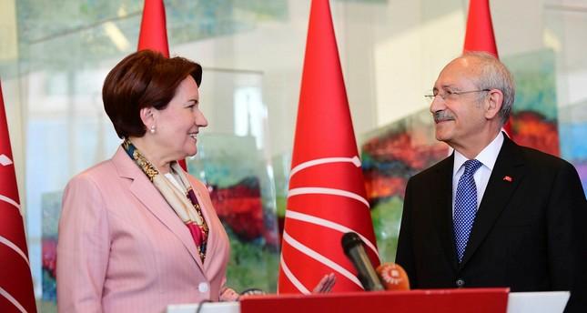 IYI Party's Akşener (L) and CHP head Kılıçdaroğlu