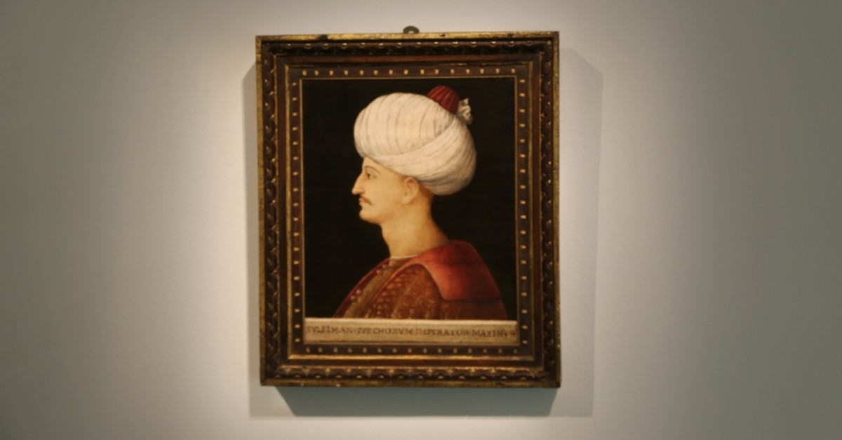Portrait of Suleiman the Magnificent in Sotheby auction house in London, United Kindom. (AA Photo)