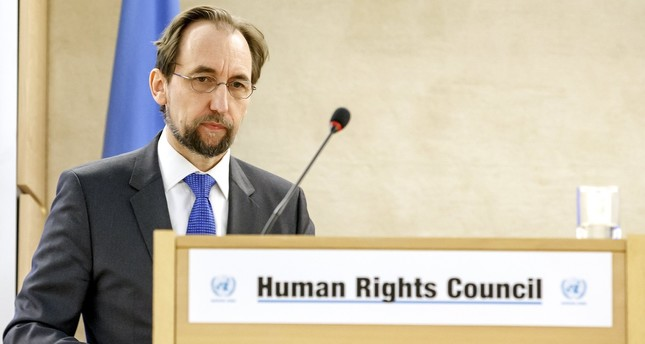 U.N. High Commissioner for Human Rights, Jordan's Zeid Ra'ad al Hussein, delivers his statement during the opening of the High-Level Segment of the 34th session. (AP Photo)