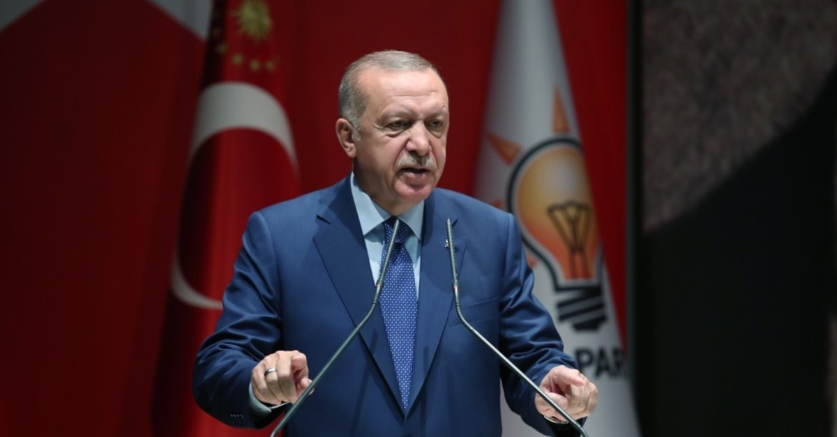 President Recep Tayyip Erdou011fan speaks to his party officials, Ankara, Sept. 5, 2019.