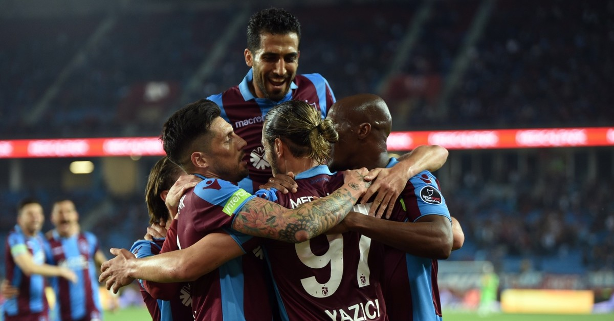 Trabzonspor players celebrate a victory against u0130stikbal Mobilya Kayserispor, May 6, 2019.