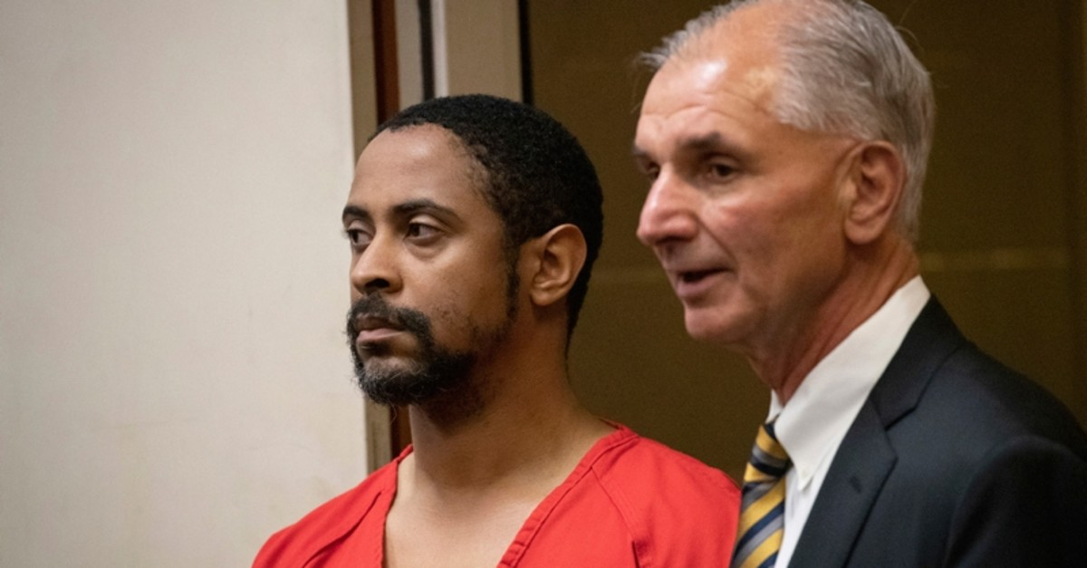 Isaiah J. Peoples appears for his arraignment in Santa Clara County Superior Court as his attorney, Chuck Smith, stands at his side on Friday, April 26, 2019, in San Jose, Calif. (AP Photo)