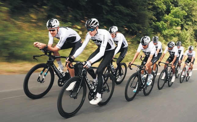 Britain's Christopher Froome (Front C), his Team Sky cycling teammates ride during a training session on July 6 near Saint-Mars la Reorthe, France, on the eve of the start of the 105th edition of the Tour de France cycling race.