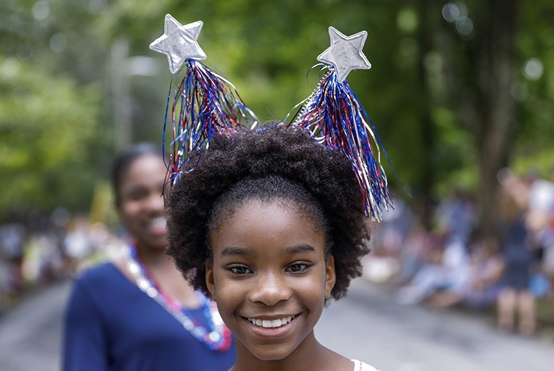 A girl participates in the Avondale Estates 4th of July Parade to celebrate the U.S. Independence Day holiday in Avondale Estates, Georgia, USA, July 4, 2018. (EPA Photo)