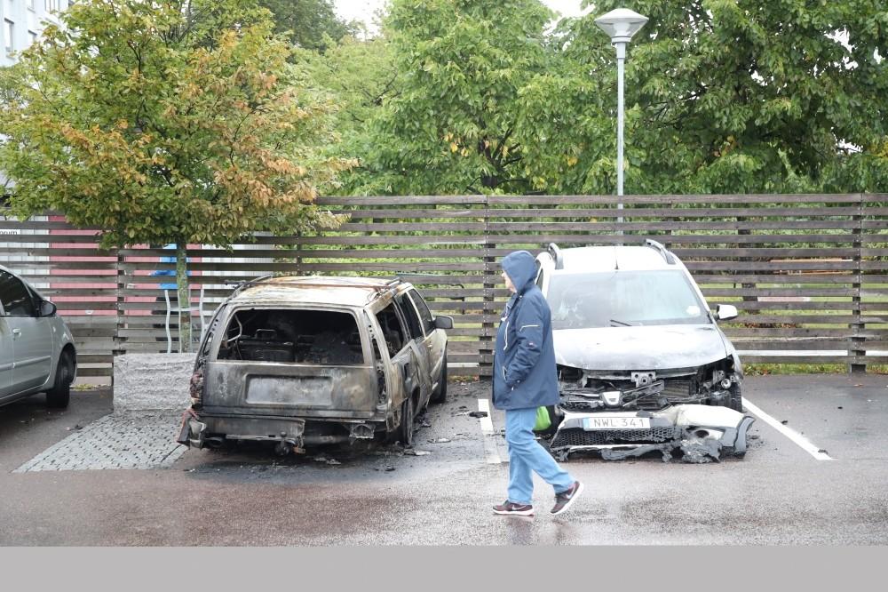 Dozens of cars were set on fire at Frolunda Square, Gothenburg, Aug. 13.