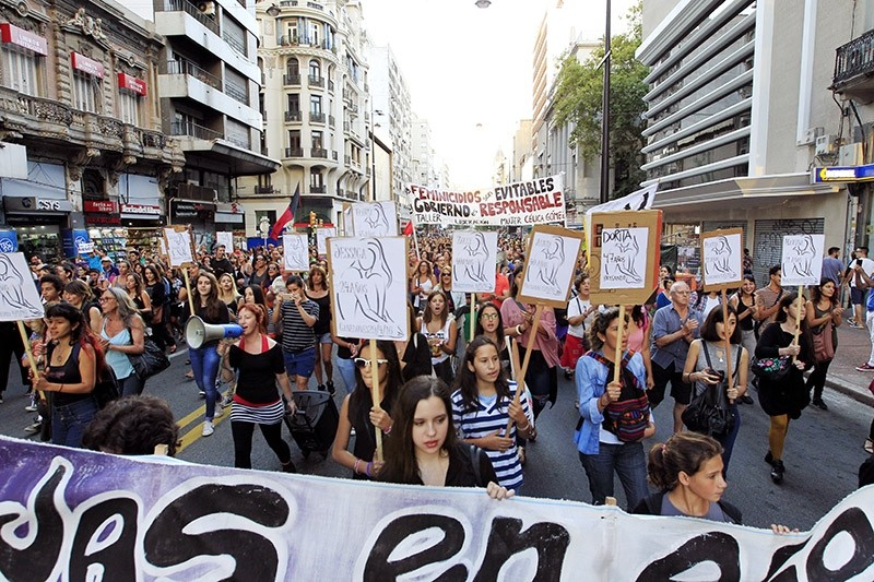 Members of feminist organizations protest against several femicides that have occurred in Uruguay, in Montevideo, Uruguay. (EPA File Photo)