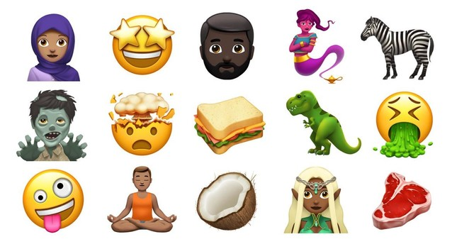 Apple released a sample of the new set of emojis it will add later this year.