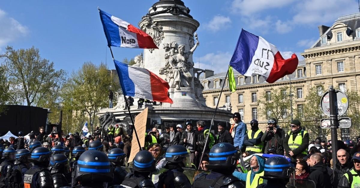 French 'yellow vest' protesters at the Place de la Reu0301publique in Paris, April 13, 2019.
