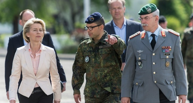 German Defense Minister Ursula von der Leyen visits base where Franco Albrecht was stationed. DPA Photo