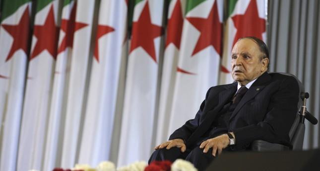 Algerian President Abdelaziz Bouteflika sits on a wheelchair after taking oath as president, Algiers, April 28, 2014.