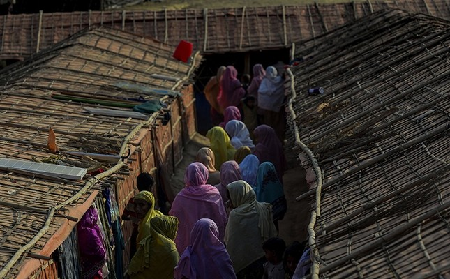 This Jan. 26, 2018 photograph shows Rohingya women walking inside the widow's camp at the Balukhali refugee camp in Bangladesh's Ukhia district. (AFP Photo)