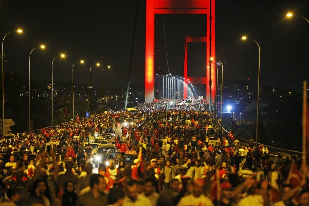 Thousands of people rally against the July 15 attempted coup on Istanbul's iconic Bosporus Bridge, which is now called the July 15 Martyrs Bridge, July 21, 2016.