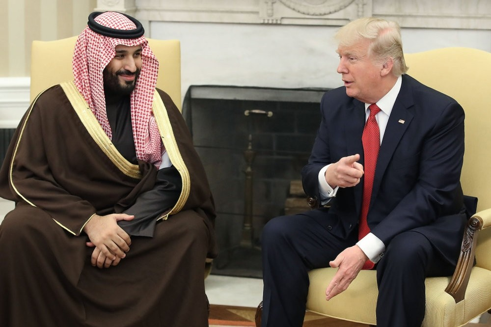 U.S. President Donald Trump (R) meets with Mohammed bin Salman, then Deputy Crown Prince and Minister of Defense of the Kingdom of Saudi Arabia, in the Oval Office at the White House, Washington, March 14, 2017.