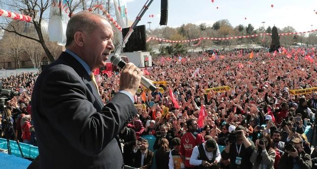 أردوغان في تجمع انتخابي بولاية قونية وسط تركيا (أسوشيتد برس)