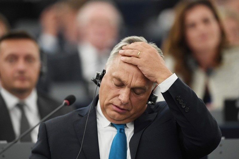 Hungary's Prime Minister Viktor Orban gestures during a debate concerning Hungary's situation as part of a plenary session at the European Parliament in Strasbourg, eastern France on September 11, 2018. (AFP Photo)