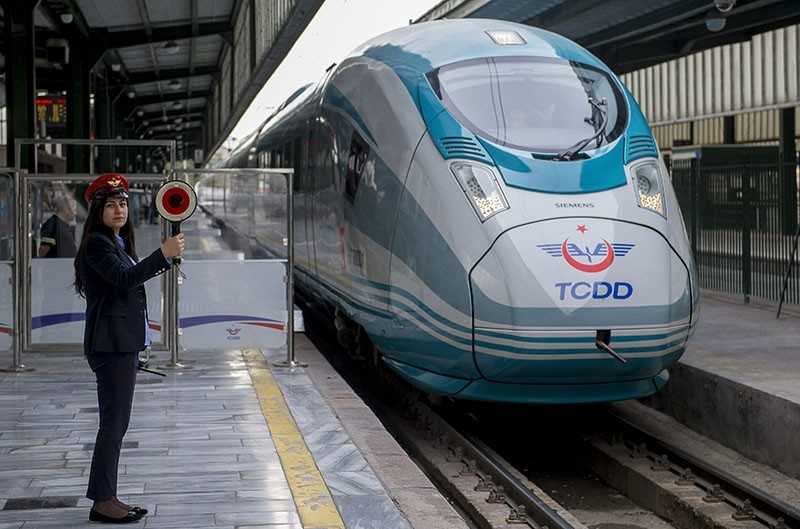 This file photo dated May 23, 2015 shows a Siemens Velaro high speed train set at a platform in the former Ankara Train Station building. (AA Photo)