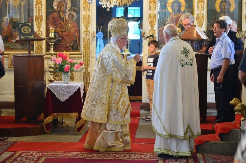 Fener Greek Patriarch Bartholomew, center, takes part in a Orthodox Christian ceremony, marking Virgin Mary's assumption to heaven on the island of Gu00f6ku00e7eada, u00c7anakkale, Aug. 15, 2018. (AA Photo)