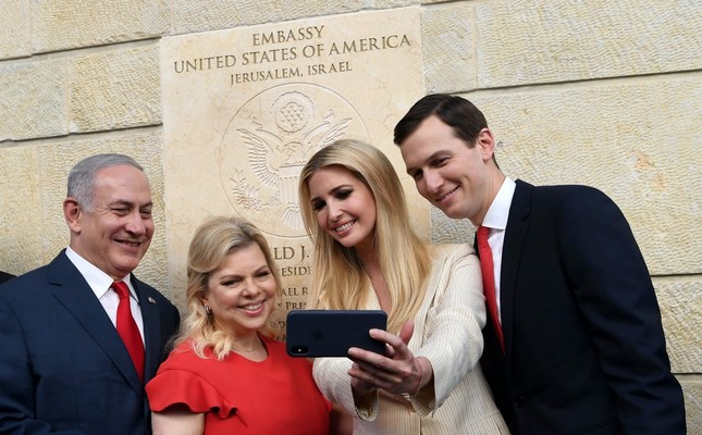 Israeli Prime Minister Benjamin Netanyahu and U.S. President Trump's son-in-law and adviser Jared Kushner, seen with their wives during the controversial relocation of the U.S. Embassy to Jerusalem on May 14, suggested the founding of an Arab NATO.