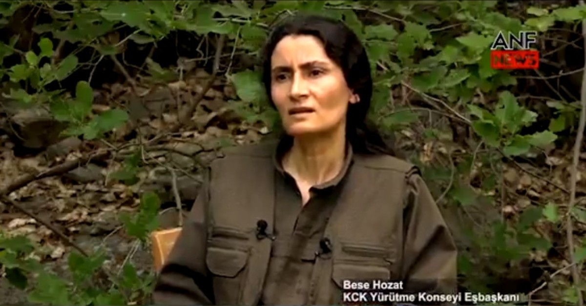 This screengrab shows PKK's umbrella organization's co-chair Bese Hozat giving an interview to the PKK-linked ANF News.