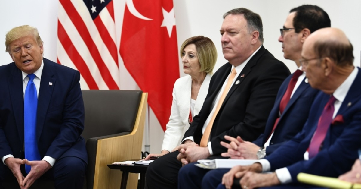 U.S. President Donald Trump speaks during a bilateral meeting with President Recep Tayyip Erdou011fan (not pictured) on the sidelines of the G-20 Summit in Osaka, Japan, June 29, 2019. (AFP Photo)