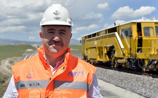 Transport Minister Ahmet Arslan inspects Baku-Tbilisi-Kars railway construction in Arpaçay district of Turkey's northwestern Kars province, June 03, 2017. (AA Photo)