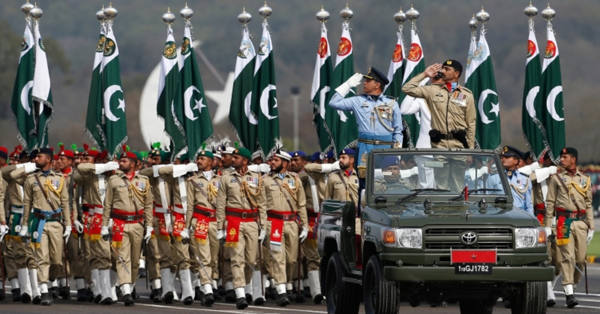 Pakistani troops march during a military parade to mark Pakistan National Day, in Islamabad, Pakistan, Saturday, March 23, 2019. (AP Photo)