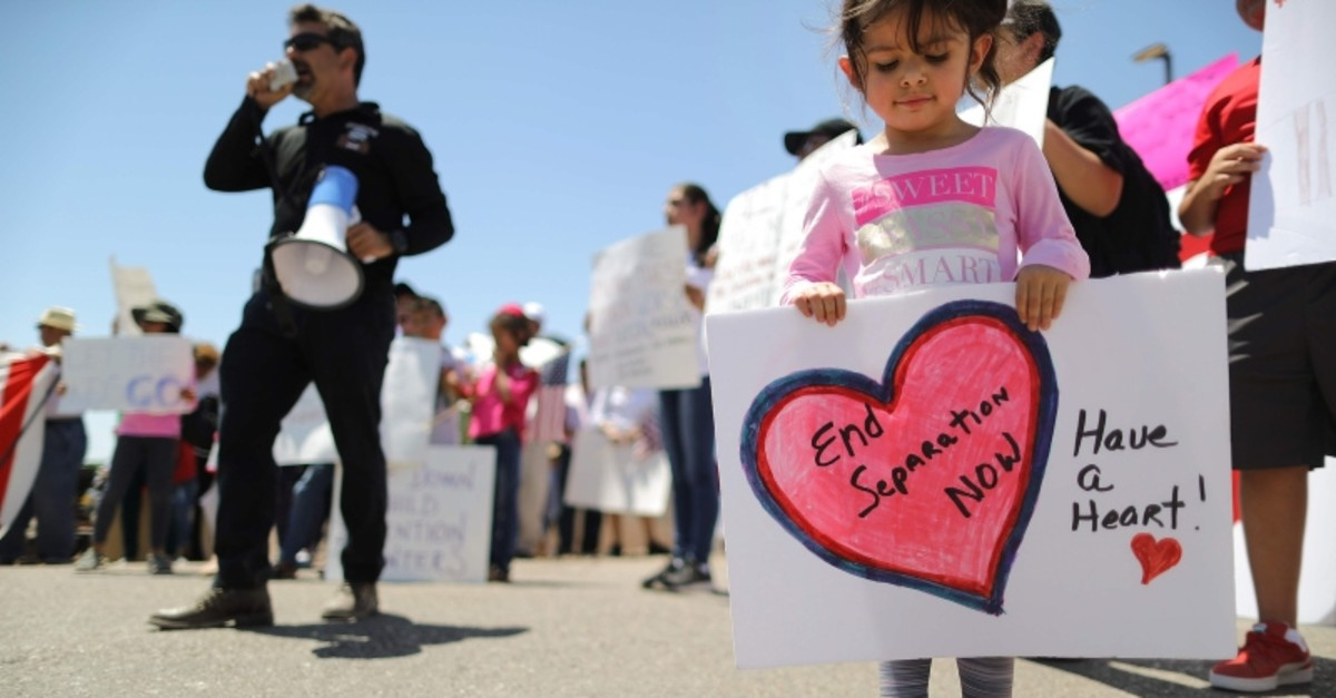 In this file photo taken on June 27, 2019 protesters demonstrate in front of the US Border Patrol facility where lawyers reported that detained migrant children were held unbathed and hungry in Clint, Texas. (AFP Photo)