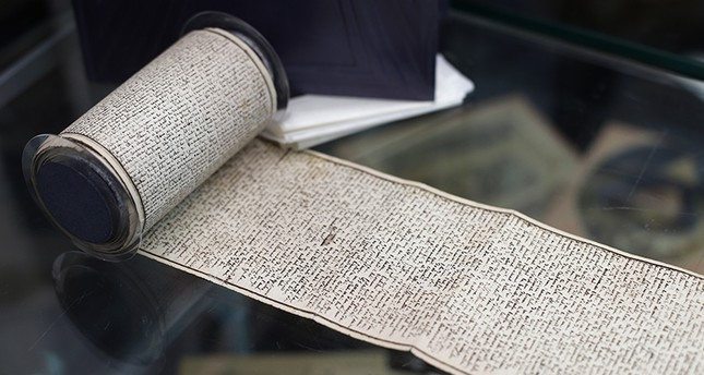 The original manuscript of The 120 Days of Sodom, or the School of Libertinage in Neuilly-sur-Seine, west of Paris, Tuesday, Nov. 14, 2017. (AP Photo)