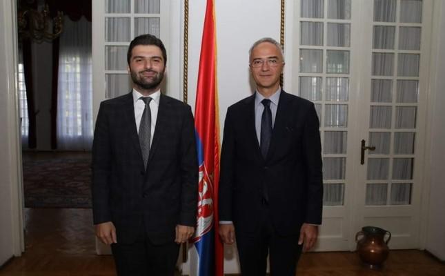 Serbian Ambassador Zoran Markovic (R) with Daily Sabah's Mustafa Kırıkçıoğlu.