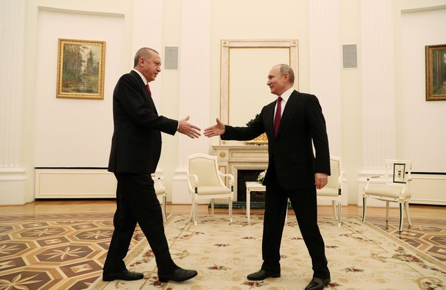 President Recep Tayyip Erdoğan meets with his Russian counterpart Vladimir Putin at the Kremlin to discuss bilateral relations, Moscow, Russia, Jan. 23, 2019.