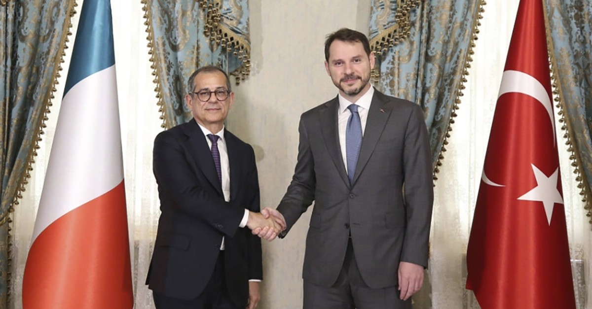 Treasury and Finane Minister Berat Albayrak (R) and Italian Economy and Finance Minister Giovanni Tria meet at Dolmabahu00e7e office, Istanbul, July 22, 2019.
