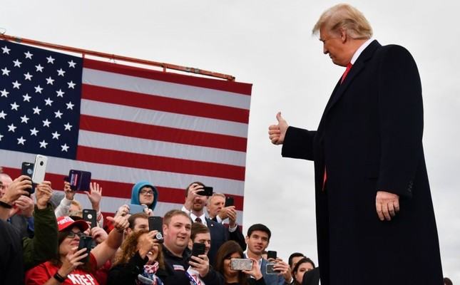 U.S. President Donald Trump arrives to speak at a campaign rally at the Huntington Tri-State Airport, West Virginia, Nov. 2.