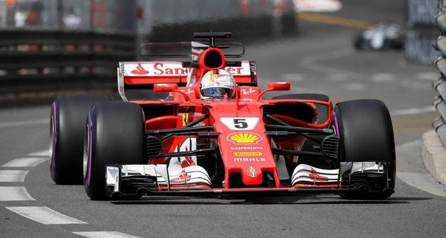 Ferrari's Sebastian Vettel in action during the first free practice session. (Reuters Photo)