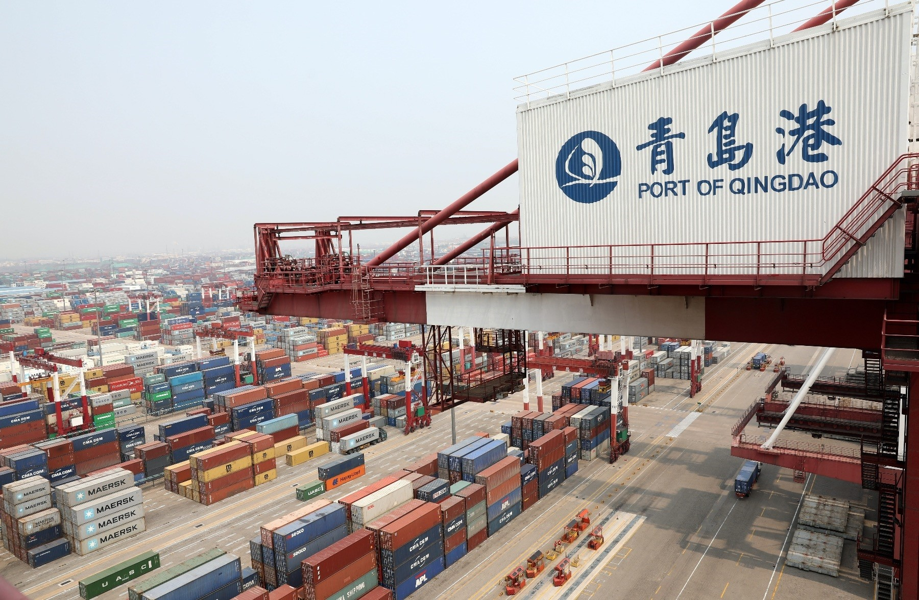 A view Qingdao port located in China's Shandong province.