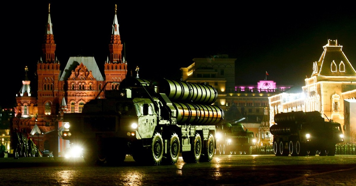 Russian servicemen drive the S-400 missile air defence systems during ceremonies in Red Square, Moscow, marking the 73rd anniversary of the victory over Nazi Germany in World War II, May 9, 2019.