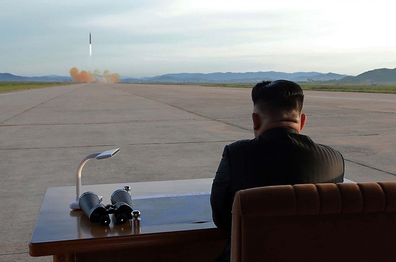 This undated picture released from North Korea's official Korean Central News Agency (KCNA) on September 16, 2017 shows North Korean leader Kim Jong-Un inspecting a launching drill of the medium-and-long range strategic ballistic rocket (AFP Photo)