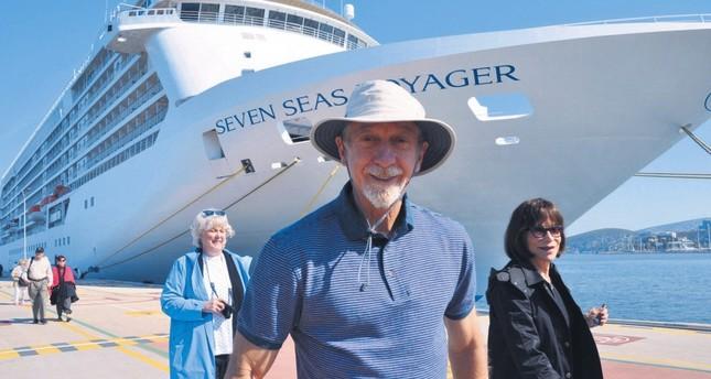 Luxurious cruise ship Seven Seas Voyager drops anchor in Kuşadası, Aydın.