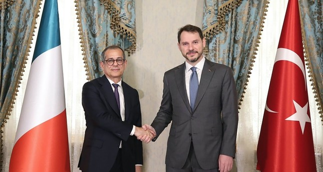 Treasury and Finance Minister Berat Albayrak and his Italian counterpart Giovanni Tria during a meeting on bilateral relations between Turkey and Italy, Istanbul, July 22, 2019.