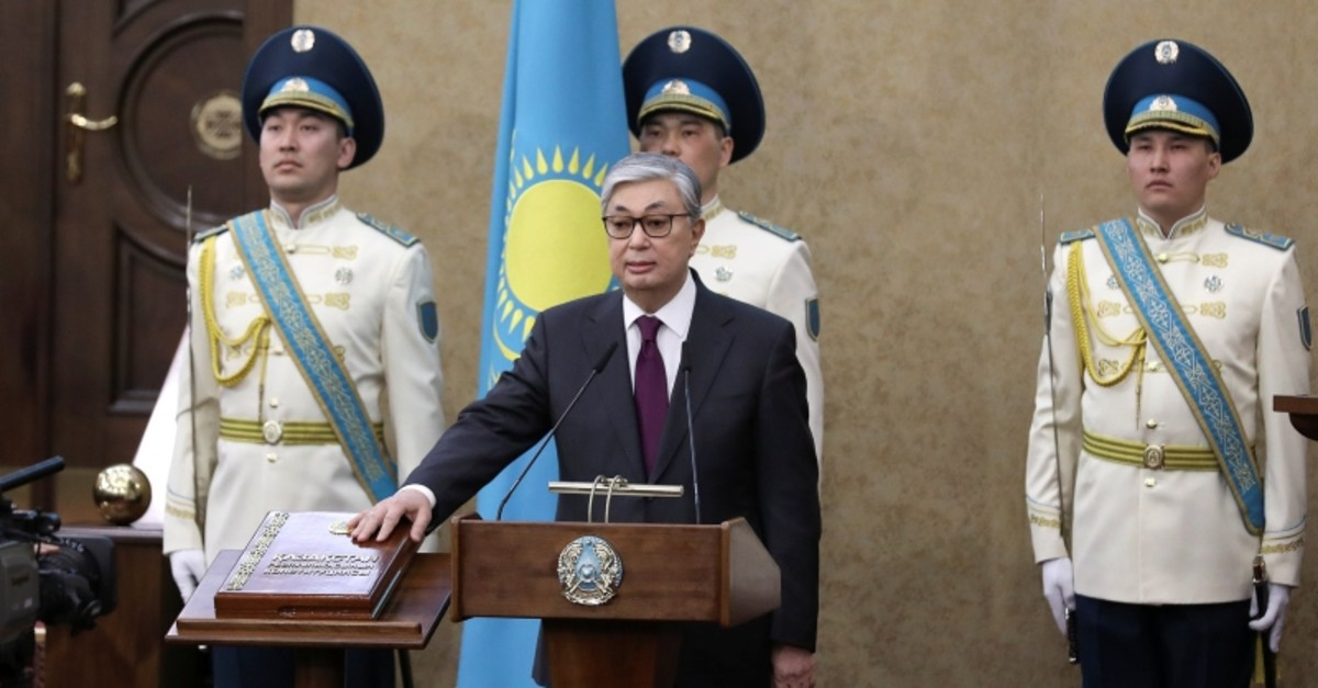 Kassym-Jomart Tokayev takes the oath after he assumed the post of Kazakhstan's President during a joint session of the houses of parliament in Astana, Kazakhstan, March 20, 2019. (Reuters Photo)