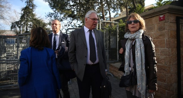UN Special Rapporteur on Extrajudicial and Arbitrary Executions Agnes Callamard seen in front of the Saudi Consulate in Istanbul on Tuesday Jan. 29, 2018 AA Photo
